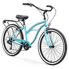 Women's sixthreezero Around the Block 26-Inch Blue Beach Cruiser Bike with Rear Rack