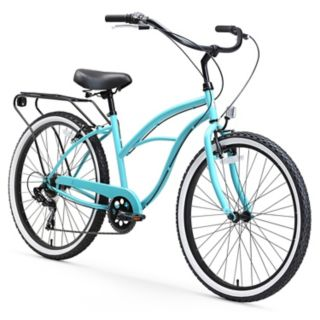 Women's sixthreezero Around the Block 26-Inch Blue Beach Cruiser Bike with Rear Rack