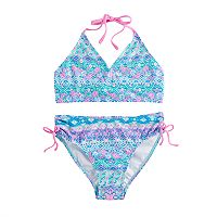 Girls 7-16 SO® 2 pc Blue Multi-print Bikini Swimsuit Set