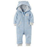 Baby Boy Carter's Fleece Striped Hooded Coverall