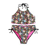 Girls 7-16 SO® Black Multi-print Bikini Swimsuit Set