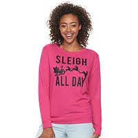 Junior's Fifth Sun Neon Pink Sleigh All Day Glitter Sweatshirt