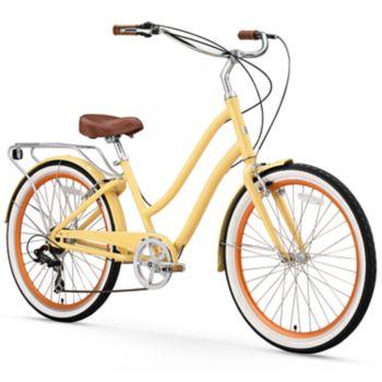 Women's sixthreezero EVRYjourney Cream 26-Inch Step-Through Touring Hybrid Bike
