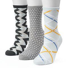 Women's SONOMA Goods for Life™ 3-pk. Diamond Geometric Crew Socks