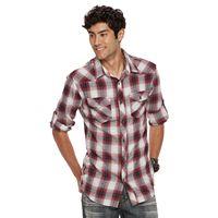 Men's Rock & Republic Roll-Sleeve Plaid Flannel Button-Down Shirt