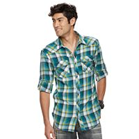 Men's Rock & Republic Roll-Sleeve Plaid Flannel Button-Down Shirt