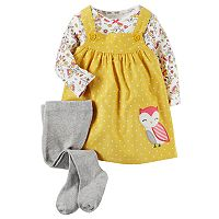 Baby Girl Carter's Print Tee, Corduroy Jumper & Tights Set