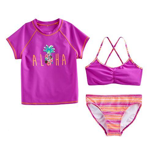 "Girls 7-16 SO® 3-pc. ""Aloha"" Bikini & Rashguard Swimsuit Set"