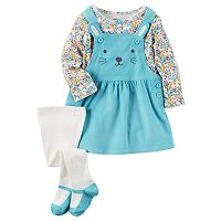 Baby Girl Carter's Print Tee, Embroidered Corduroy Jumper & Tights Set