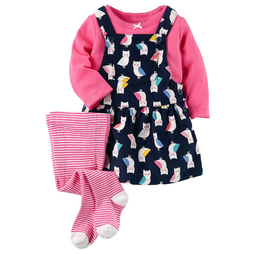 Baby Girl Carter's Solid Tee, Print Corduroy Jumper & Tights Set