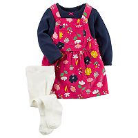 Baby Girl Carter's Solid Tee, Print Corduroy Jumper & Tights Set