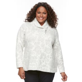 Plus Size Croft & Barrow® Zip Shawl Collar Sweatshirt