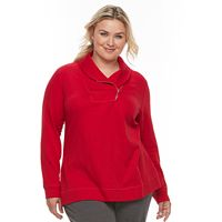 Plus Size Croft & Barrow® Zip Shawl Collar Sweatshirt