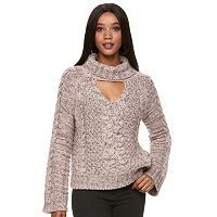 Women's Jennifer Lopez Cutout Cable-Knit Turtleneck Sweater