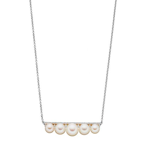 Simply Vera Vera Wang Sterling Silver Freshwater Cultured Pearl & 1/10 Carat T.W. Diamond Bar Necklace