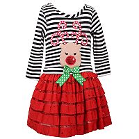 Girls 4-6x Jessica Ann Long Sleeve Reindeer Stripe Dropwaist Dress