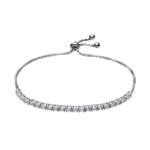 Sterling Silver Lab-Created White Sapphire Bolo Bracelet