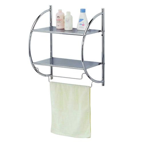 Home Basics 2-Tier Bathroom Wall Shelf