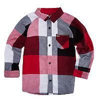 Boys 4-7 Hurley Flannel Plaid Button Down Shirt