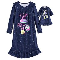 Girls 4-14 SO® Donut, Unicorn, Sleep Fleece Nightgown & Doll Gown Set