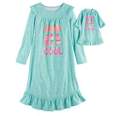 Girls 4-14 SO® 'Snow Cool' Fleece Nightgown & Doll Gown Set