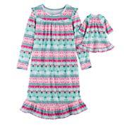 Girls 4-14 SO® Fairisle Fleece Nightgown & Doll Gown Set