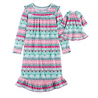 Girls 4-14 SO® Fairisle Fleece Nightgown & Doll Gown Set
