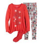 Girls 4-14 SO® 'Be Unique Be You' Handkerchief Hem Tunic, Thermal Fleece Leggings & Fuzzy Slipper Socks Pajama Set