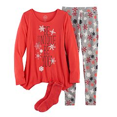 Girls 4-14 SO® 'Be Unique Be You' Handkerchief Hem Tunic, Thermal Fleece Leggings & Fuzzy Slipper Socks Pajama Set