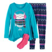 Girls 4-14 SO® Owl Handkerchief Hem Tunic, Thermal Fleece Leggings & Fuzzy Slipper Socks Pajama Set