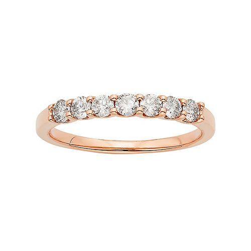 14k Rose Gold 1/2 Carat T.W. IGL Certified Diamond Anniversary Ring
