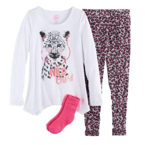 Girls 4-14 SO® Foil-Printed Graphic Handkerchief Hem Tunic, Thermal Fleece Leggings & Fuzzy Slipper Socks Pajama Set