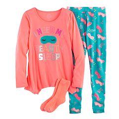 Girls 4-14 SO® 'Beauty Sleep' Handkerchief Hem Tunic, Thermal Fleece Leggings & Fuzzy Slipper Socks Pajama Set