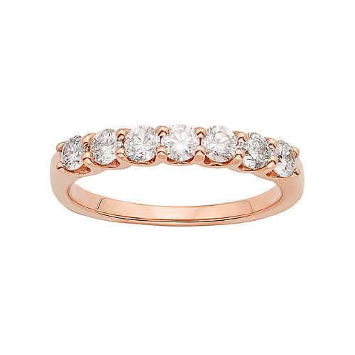 14k Rose Gold 3/4 Carat T.W. IGL Certified Diamond Anniversary Ring