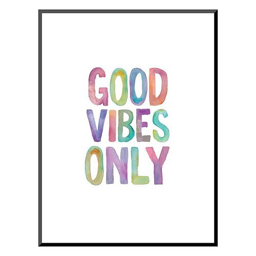 "Art.com ""Good Vibes Only"" Watercolor Mounted Wall Art Print"
