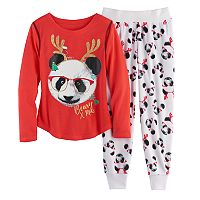 Girls 4-14 SO® Holiday Handkerchief Hem Tunic, Thermal Fleece Leggings & Fuzzy Slipper Socks Pajama Set