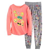 Girls 4-14 SO® Glitter Graphic Tee & Fleece Bottoms Pajama Set