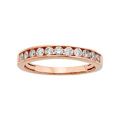 14k Rose Gold 1/2 Carat T.W. IGL Certified Diamond Anniversary Ring