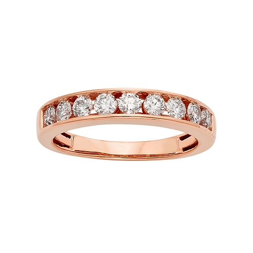 14k Rose Gold 3/4 Carat T.W. IGL Certified Diamond Anniversary Ring