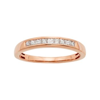 14k Rose Gold 1/4 Carat T.W. IGL Certified Diamond Anniversary Ring