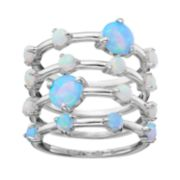 Sterling Silver Lab-Created Opal Stack Ring Set