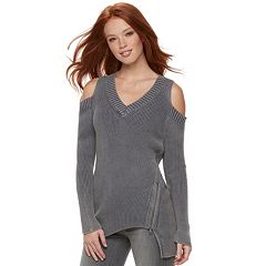 Women's Rock & Republic® Ribbed Cold-Shoulder Sweater