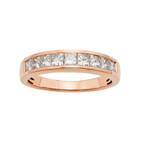 14k Rose Gold 1 Carat T.W. IGL Certified Diamond Anniversary Ring