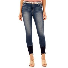 Juniors' Wallflower Belted Curvy Bling Skinny Jeans