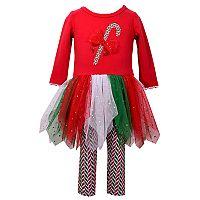 Girls 4-6x Jessica Ann Long Sleeve Candy Cane Mesh Dress & Leggings Set
