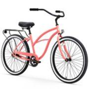 Women's sixthreezero Around the Block Coral 26-Inch Single Speed Beach Cruiser Bike with Rear Rack