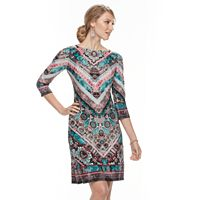 Petite's Suite 7 Intricate Chevron 3/4 Sleeve Dress