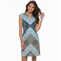 Petite Suite 7 Print Splitneck Sheath Dress