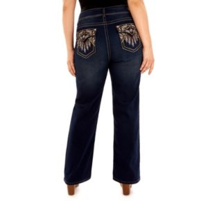 Juniors' Plus Size Wallflower Luscious Curvy Embellished Bootcut Jeans