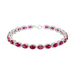 Sterling Silver Lab-Created Ruby Bracelet